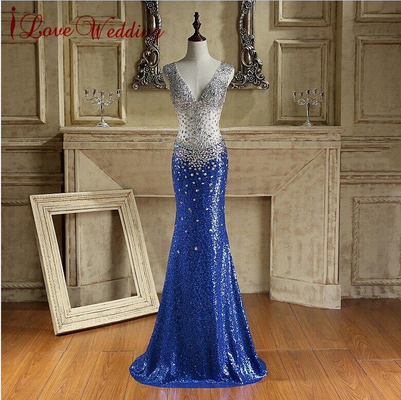 섹시 로얄 블루 긴 스팽글 이브닝 드레스 오픈 다시 - 특별한 날을위한 드레스