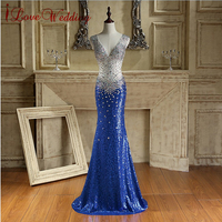 Sexy Royal Blue Long Sequin Evening Dresses Open Back V Neckline Luxury Crystal beaded Evening Gowns Floor Length Real Sample