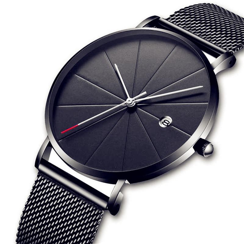 CTPOR Waterproof Men's Watch Date Men Watches Simple Style No Logo Stainless Steel Clock Calendar Man Black Wristwatch a WATCH