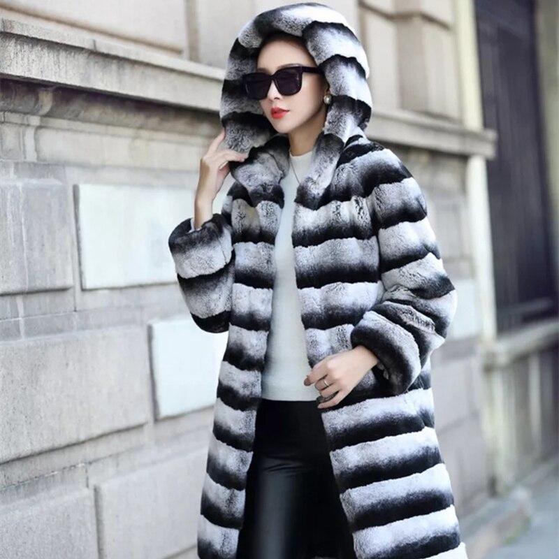 Davvero Lexus Rex cappotto di pelliccia Naturale della pelliccia Con Cappuccio delle Donne Real Rex Rabbit fur coat