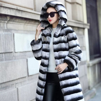 really Lexus Rex Women's fur coat Natural fur Hooded Real Rex rabbit fur coat