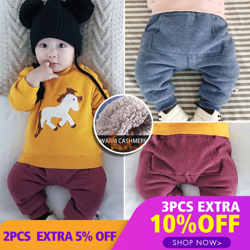 Lemonmiyu Pants Harem Newborn-Trousers Baby Cotton Casual Velvet Thicken Solid Mid Elastic