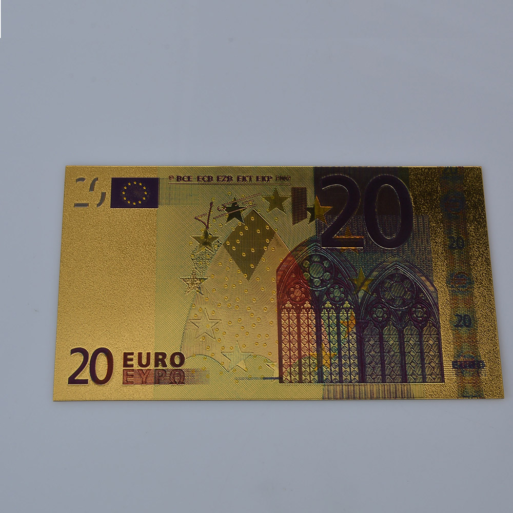 Value Collectible Rare Colorful 20 Euro Pure 24K Gold Banknote, Golden Euro Currency for Gifts