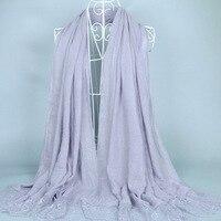 16 colorsLadies flower lace solid color viscose shawls winter nice hijab big size muslim scarves/scarf M3627