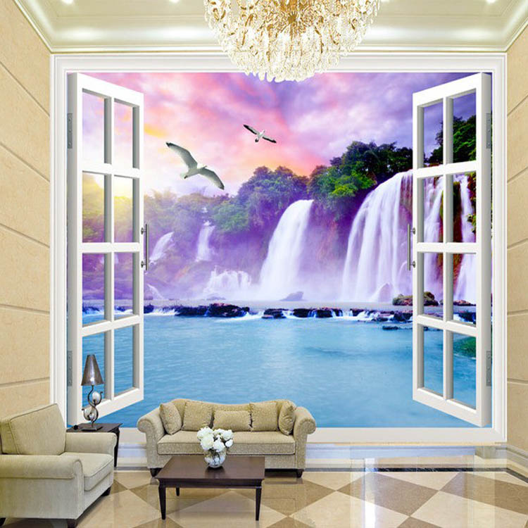 Window 3D Waterfalls Forest View Wall Stickers Art Mural Wallpaper Living Bedroom Hallway Childrens Rooms wall Decoration 3d horse rushing window living room decoration wall stickers