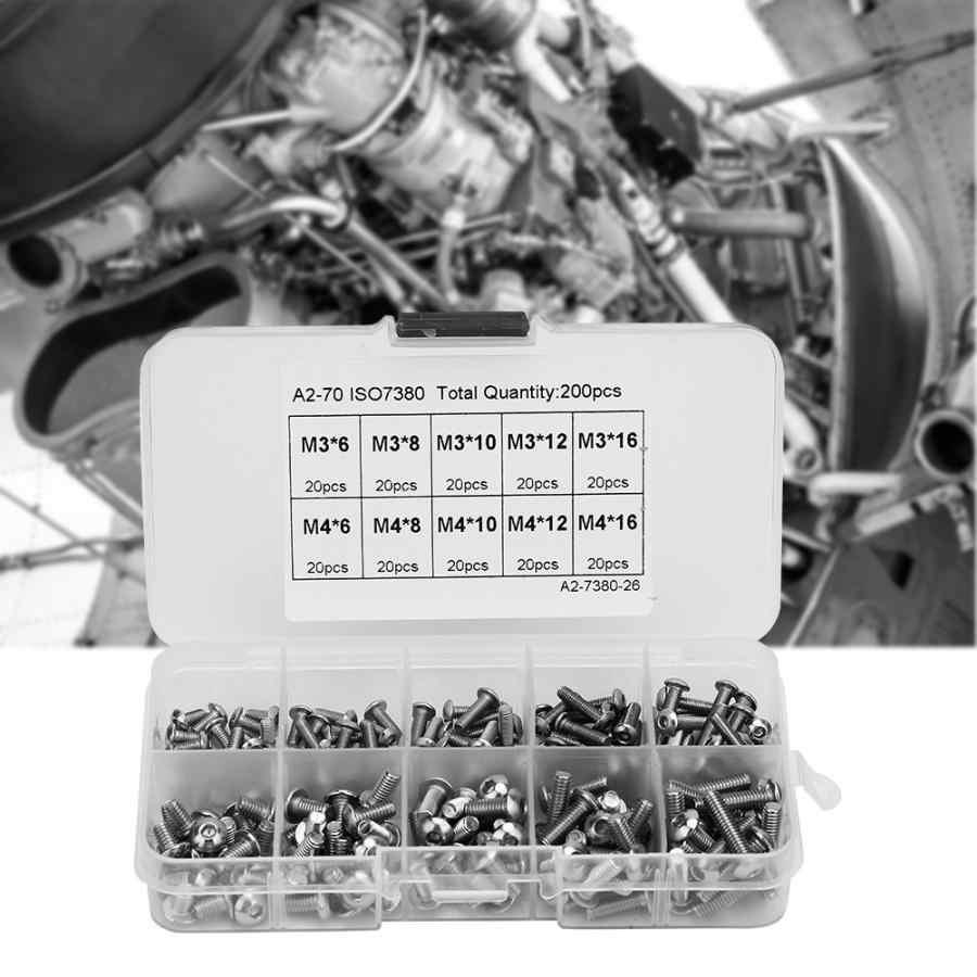 200 PCS 1 Box Hex Socket Kepala Sekrup Set M3 * 6 \ M3 * 8 \ M3 * 10 \ M3 * 12 \ M3 * 16 \ 4*6 \ 4*8 \ M6 * 10 \ 4*12 \ 4*16