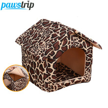 Plaid Leopard Pet Dog House Folding Portable Chihuahua PuppyBed House For Small Dogs