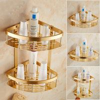 1/2 tier bathroom triangle shelf gold plated, Retro wall toilet/kitchen shelf, Space Aluminum layer corner bathroom shelves rack