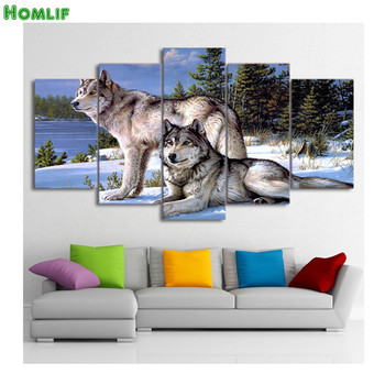 5 pcs,Full Square 5D DIY Diamond Painting wolf,animal scenery,3d,Diamond Embroidery Cross Stitch,Mosaic,stickers,Christmas,gifts