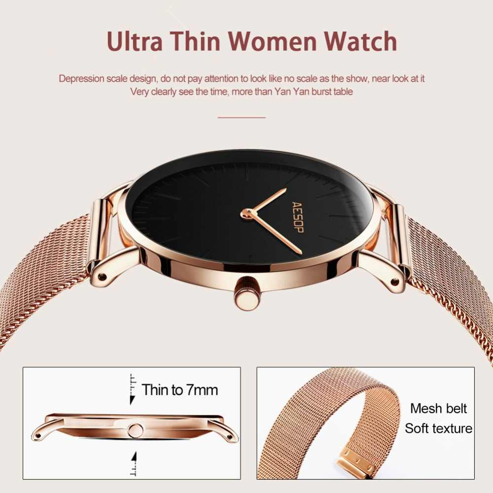aa386b72644 ... Luxury Women Watches Simple Ladies Steel Watch Rose Gold Elegant  Minimalism Casual Black Female Waterproof Clock ...