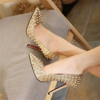 2018 Roman gladiator spring and autumn ladies shallow shoes new sexy rivets pointed Slim high heels ladies fine with height 11 c