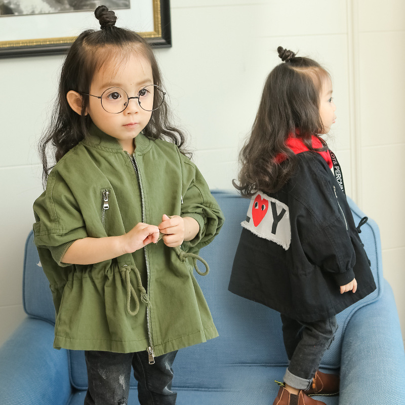 цены на 2017 Autumn Long Sleeve Girl Outwear Coats Spring Windbreaker Girls Jackets Baby Warm Infants Casual Children Clothes Costumes в интернет-магазинах