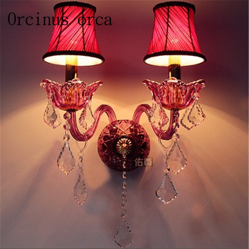 European style purple red crystal wall lamp living room aisle Hotel bedroom bedside wall lamp free shipping a1 wall lamp bedside lamp wall lamp european style and simple double bedroom living room warm aisle hotel glass wall lights