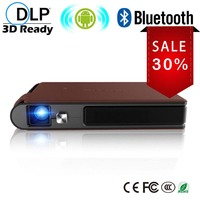 CAIWEI Mini 3D DLP Projector with Android Bluetooth 2018 Pico Smart LED Projector 1080P HD Movies Video Game Built in Battery