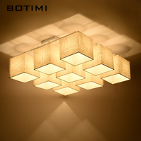 BOTIMI Modern Cloth Lampshade Ceiling Lights Dining Lamp With E27 Lamparas de techo Febric Home Lighting Fixture For Living Room