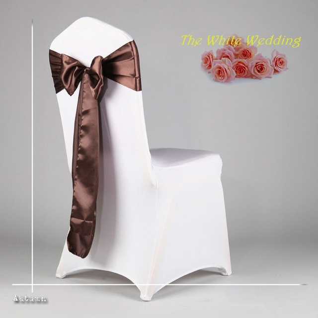 Free Shpping To Russian Federation 100 Premium Chocolate Chair Cover Sash  For Wedding Decoration