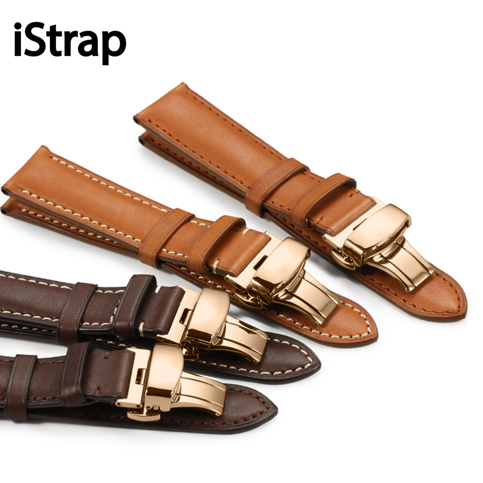 iStrap France  Leather Black Brown Coffee 18mm to 22mm Watch Band Strap Rose Gold Butterfly Buckle  For Herbelin Tissot Omega