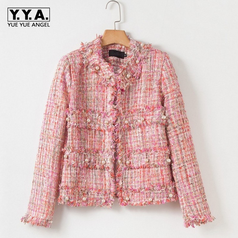 Pink Tweed Jacket Lady Casual Pearl Small Fragrance Female Coat Burr Tassel Coats Women High Street Office Clothes Autumn Winter