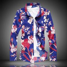 Long sleeve Mens Shirt Floral Printed Flower New model Shirts Clothing Blouse Men Fashion Summer