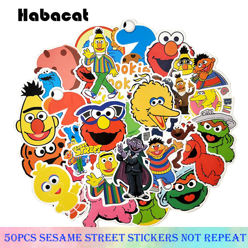 50Pcs/Pack Sesame Street Graffiti Stickers Children Education For Motorcycle Skateboard Notebook Luggage Laptop Bicycle For Kid