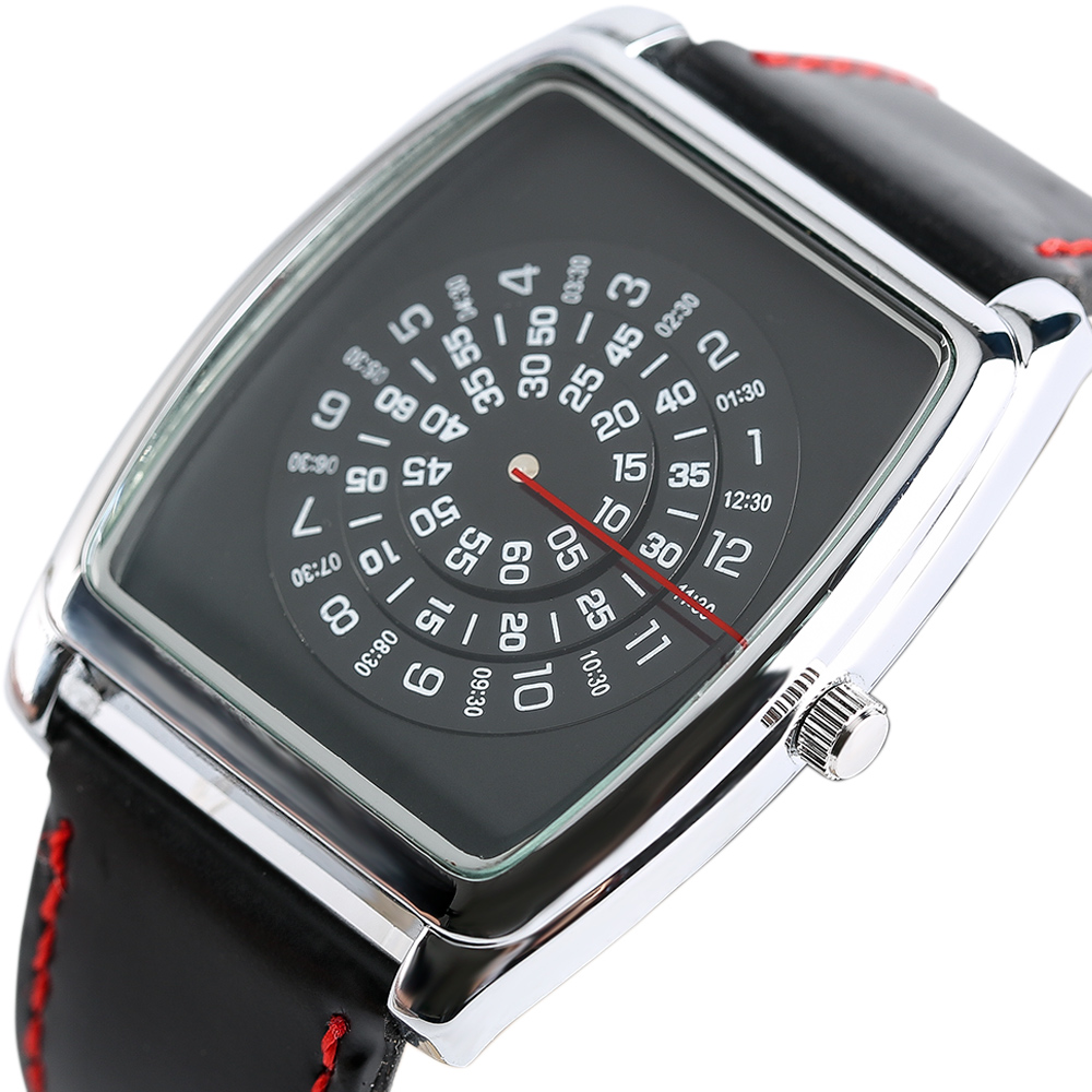 Gift Students Unique Trendy Turntable Dial Cool Quartz Watch Mens Black Leather Strap Rectangle Wristwatches Fashion Male цена и фото