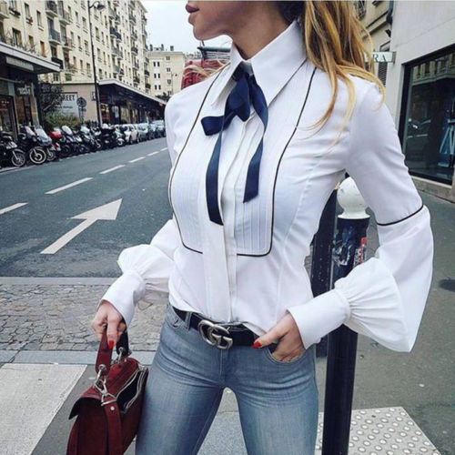 Fashion Women's Latern Sleeve Cotton Bowknot Bodycon   Blouse     Shirts   Outwear Autumn High Street Party Tops   Shirt     Blouse   Clothing