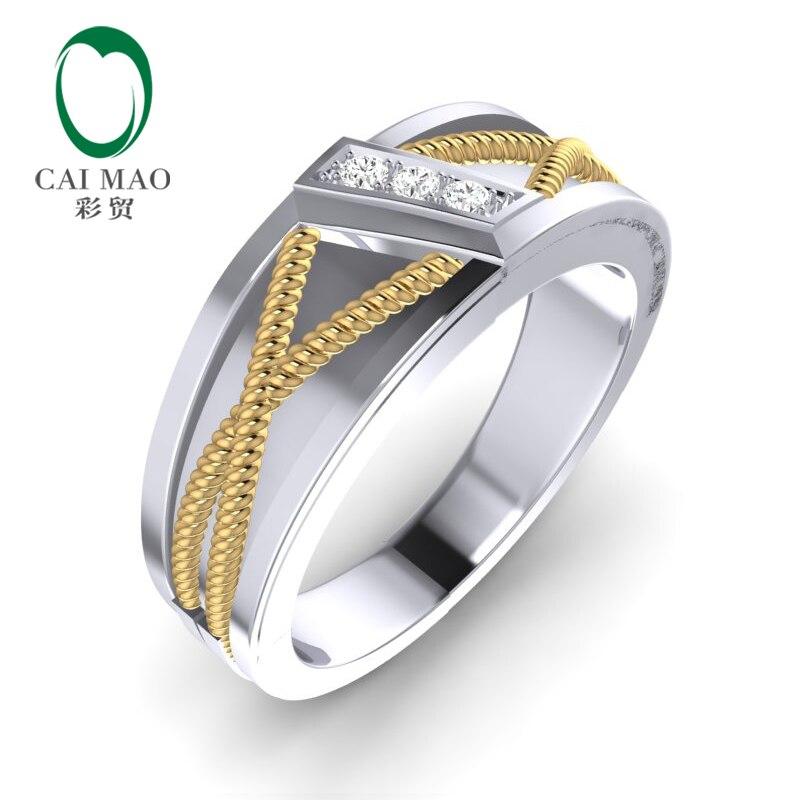 CaiMao 14K bicolore or 0.08ct diamant naturel torsadé corde hommes mariage bande hommes anneau