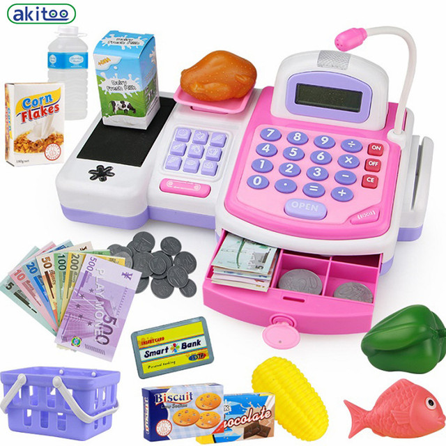 Nuevos niños de la llegada juguete supermercado caja registradora y casa de simulación de papel version of the children's play partes de muebles