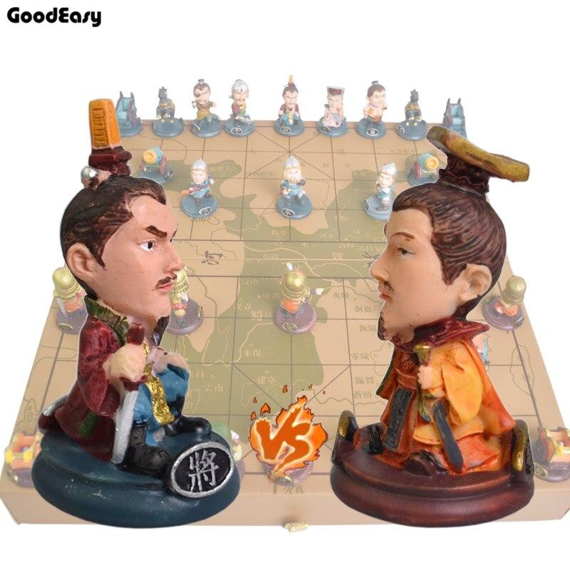 Trois royaumes échecs chinois pliant échiquier pièces d'échecs chinois/cadeau parent-enfant
