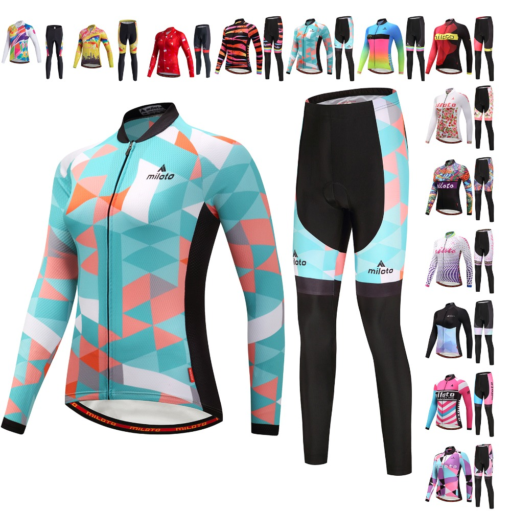 Top Quality Women Long Cycling jersey set Autumn Cycling pants Bicycle Clothes Long Jersey Sets MTB