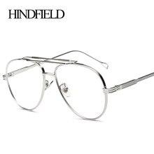 Модная металлическая оправа для очков HINDFIELD для женщин и мужчин, Брендовые очки с прозрачными линзами, большие размеры
