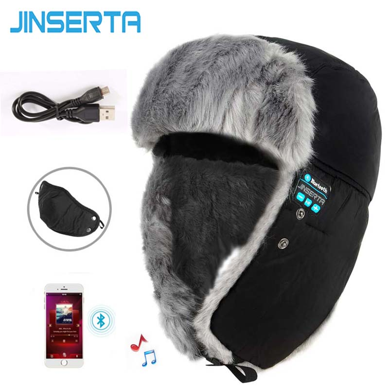 JINSERTA Bluetooth Hat Wireless Earphone Winter Warm Unisex Music Beanie Smart Cap Headset With Mic Handsfree Call for Phone remax t9 mini wireless bluetooth 4 1 earphone handsfree headset for iphone 7 samsung mobile phone driving car answer calls