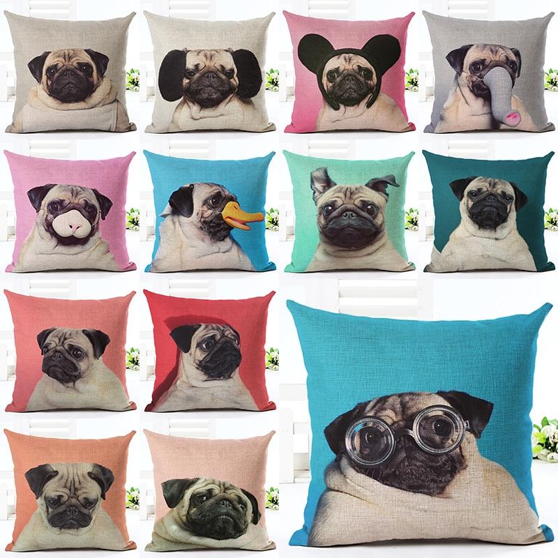 Najnovije Početna Šarene Pug Decor Jastuk Cover Creative Home Pejzaž Tiskana baciti jastuk Case Cojines Almofada