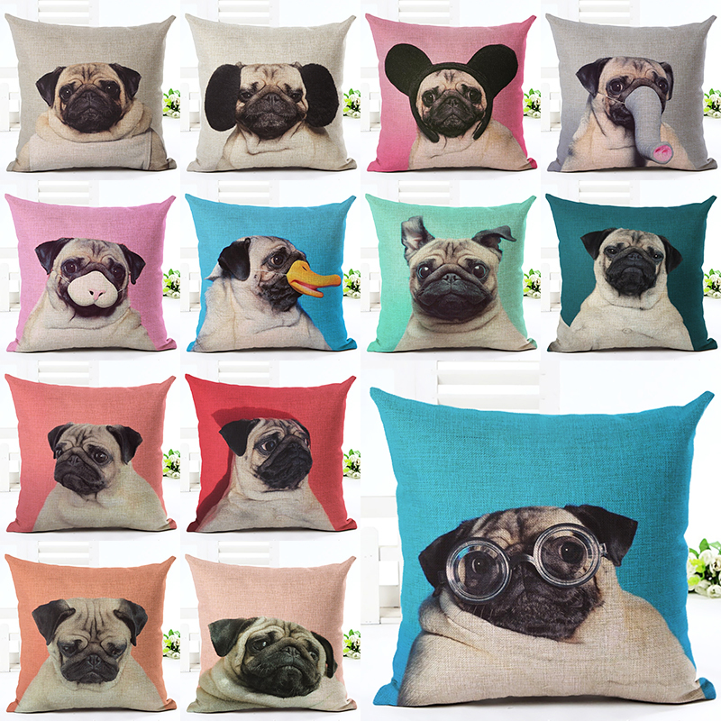 Newest Home Colorful Pug Decor Cushion Cover Creative Home Landscape  Printed Throw Pillow Case Cojines Almofada