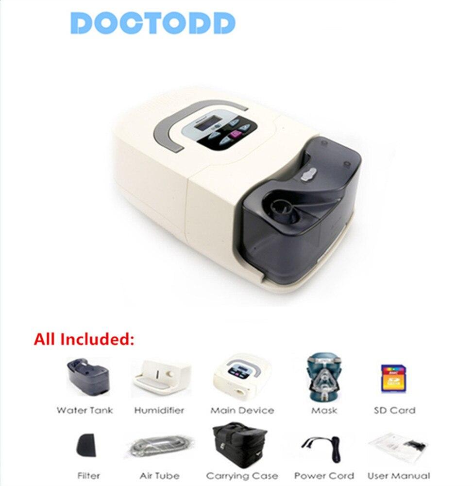 Doctodd GI CPAP hogar portátil médico CPAP máquina para Apnea del sueño OSAHS OSAS ronquido personas W/máscara Headgear Tube bolsa SD tarjeta