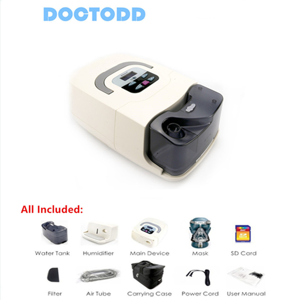 Doctodd GI CPAP Médicaux À Domicile Portable CPAP Machine pour L'apnée Du Sommeil SAHOS SAOS Ronflement Personnes W/Masque Coiffures Tube sac SD Carte
