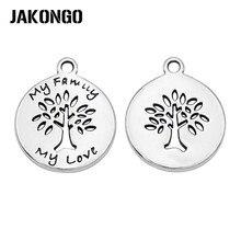 JAKONGO, 20 шт., античные, посеребренные, дерево, любовь, семья, подвески, Подвески для изготовления ювелирных изделий, ожерелье, сделай сам, аксессуары, 14 мм