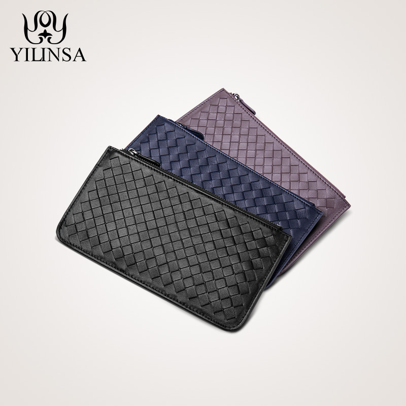 Овчины тканые бумажник длинный кожаный молнии бумажник ультра-тонкий сумочку для отдыха Г-жа мужской multifunct