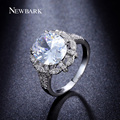 NEWBARK Vintage Flower Design Big Oval 5 Carat CZ Diamond Prong Setting High Quality Women Ring Hollow Out Retro Jewelry Gifts