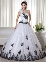 Màu đen và trắng kéo được săn chắc Vintage bóng Gown Wedding Dresses 1950 s công chúa một vai corset không trắng đầy màu sắc Bridal Gowns