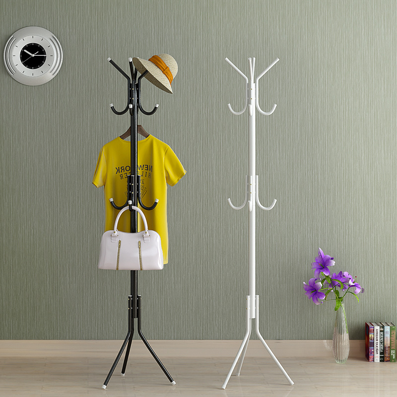Simple Metal Coat Rack Assembled Living Room Floor Hat Clothing Display Stand Home Furniture Multi Hooks Hanging Clothes Rack