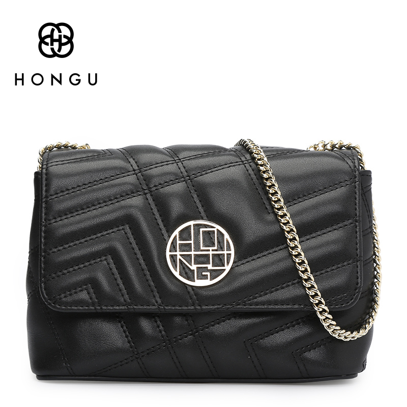 HONGU Split Leather Shoulder Bag Famous Brands  Sunmer Fashion Small Chains Crossbody Messenger Bags Handbag For Women lacattura small bag women messenger bags split leather handbag lady tassels chain shoulder bag crossbody for girls summer colors