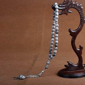 Image 4 - 8mm naturalny kamień kryształ agaty koralik Tassel wisiorek 33 różaniec islamski muzułmański Tasbih Allah Mohammed różaniec dla kobiet mężczyzn