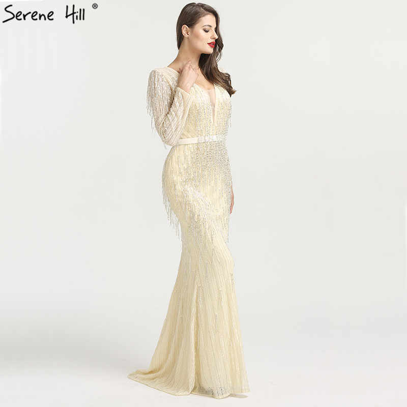 ... Shaking Mermaid Fashion Elegant New Evening Dresses 2019 Long Sleeves  Beading Formal Evening Gowns Serene Hill ... cd40f76143cb