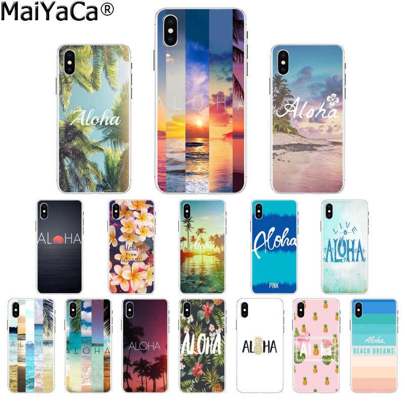 MaiYaCa, bonita funda de móvil colorida para playa, verano, Hawaii, Aloha, mar, océano, para Apple iPhone 8 7 6 6S Plus X XS MAX 5 5S SE XR