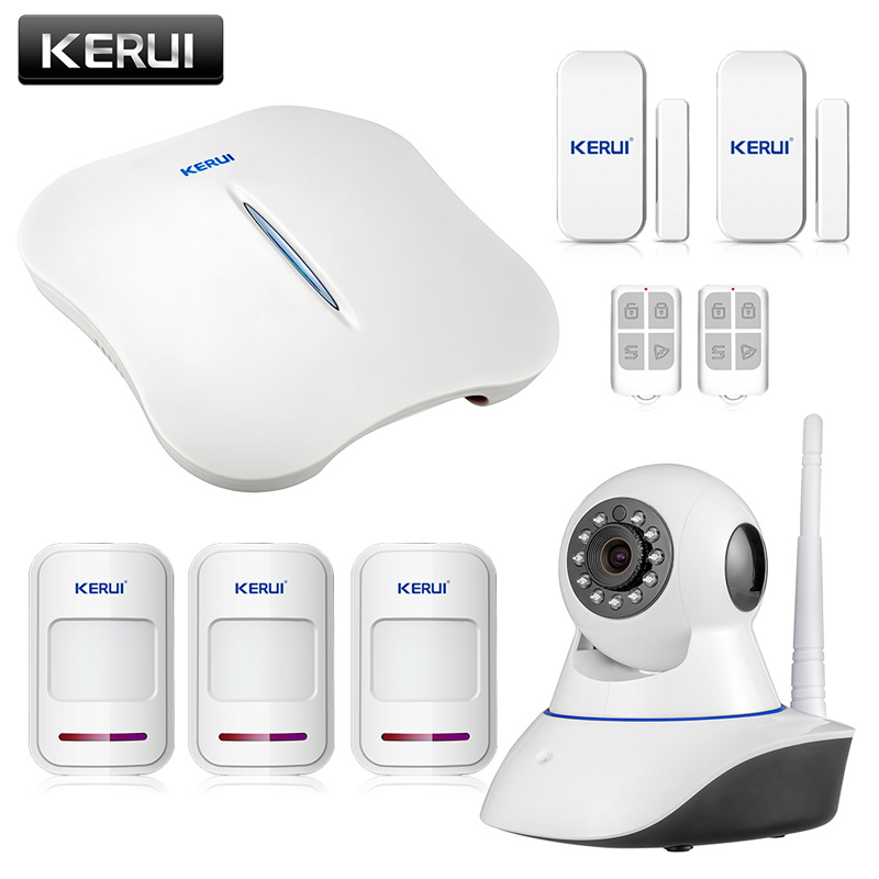 KERUI W1 WiFi Wireless PTSN Voice Home Burglar Security Alarm system IOS Android APP control with IP Camera Smart socket kerui smart socket eu us uk au standard wifi ios android app control intelligent for home security alarm system outlet switch
