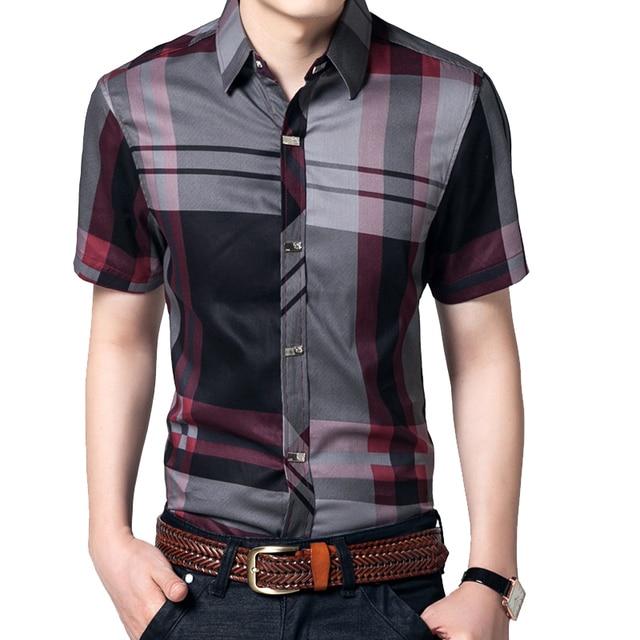 e17de828751 Striped Men Shirt 5XL Summer Short Sleeve Shirts Mens Clothes 100% Cotton  Brand Clothing Business