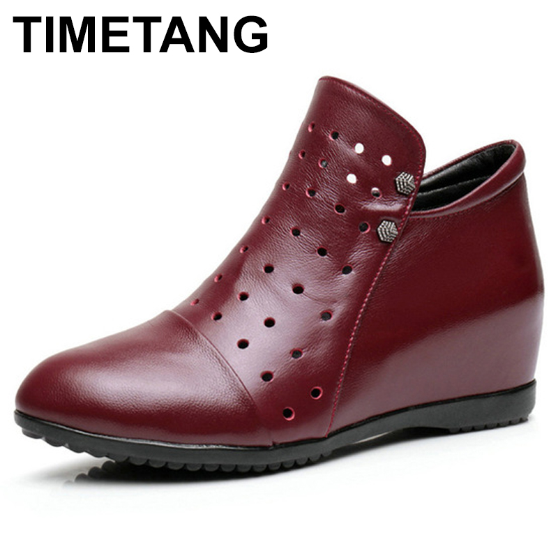 TIMETANG   2018 New Spring Women Boots Genuine Leather Flat Heel Ankle Shoes Women Casual Boots Female Flats Zipper Boots TIMETANG   2018 New Spring Women Boots Genuine Leather Flat Heel Ankle Shoes Women Casual Boots Female Flats Zipper Boots