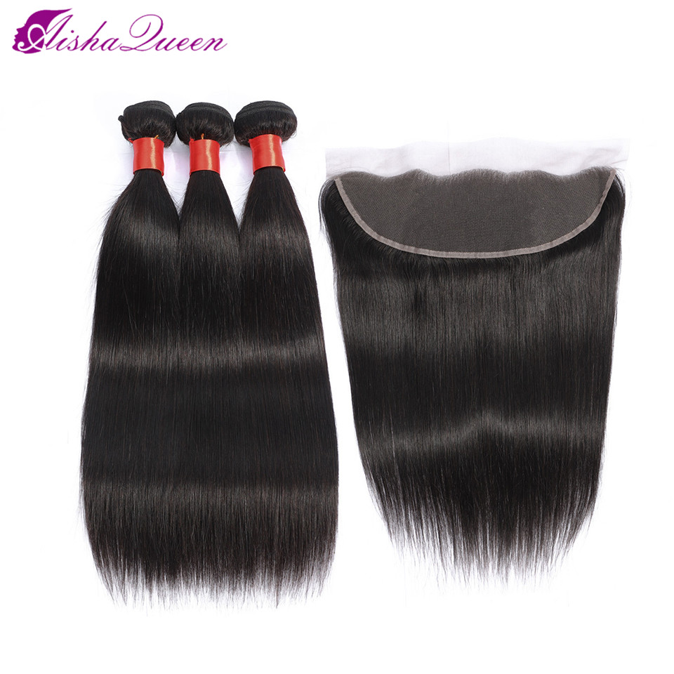 Aisha Queen Brazilian Straight Hair Weave Bundles With Frontal Closure Lace Frontal With Bundles Non Remy