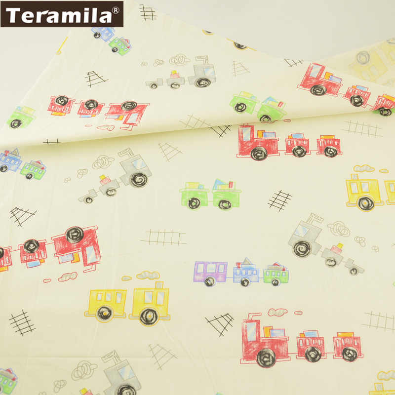 Teramila Fabric 100% Cotton Tissue Fat Quarter Material Bed Sheet Textile Cartoon Colorful Trains Design Twill Quilting Sewing